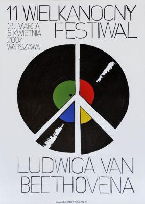 """Oryginalny polski plakat festiwalowy do wydarzenia: """"11 Wielkanocny Festiwal Ludwika van Beethovena 25 marca - 6 kwietnia 2007"""". Projekt plakatu: WILHELM SASNAL"""