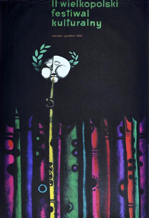 """Oryginalny polski plakat kulturalny do """"II Wielkopolski Festiwal Kulturalny styczeń-grudzień 1964"""". Projekt plakatu: K. PIEKARSKI"""