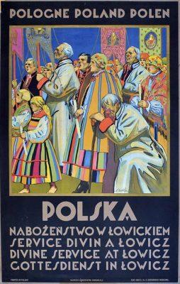 """Oryginalny polski plakat turystyczny wydany w 1925 roku na zamówienie Ministerstwa Transportu w technice litografii """"Polska - Nabożeństwo w Łowickiem"""". Projekt plakatu: STEFAN NORBLIN"""