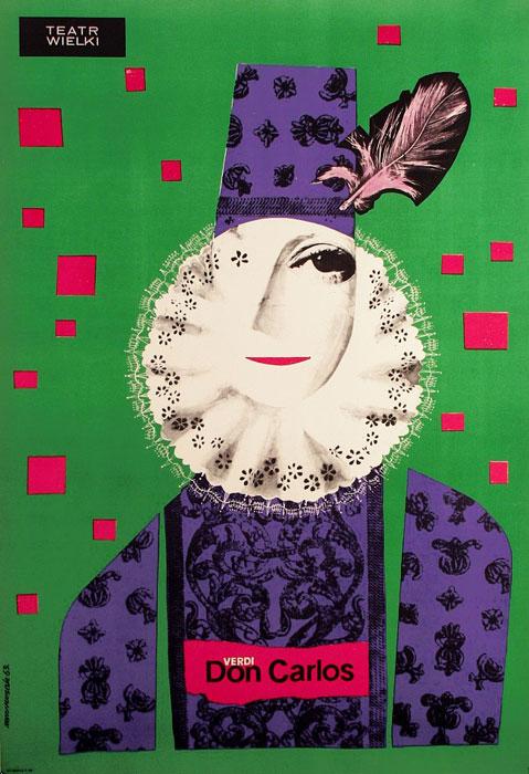 """Oryginalny polski plakat teatralny """"Don Carlos"""" Giuseppe Verdiego w Teatrze Wielkim w Warszawie. Projekt plakatu: JÓZEF MROSZCZAK"""