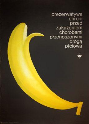 """Oryginalny polski plakat społeczny """"Prezerwatywa chroni przed zakażeniem chorobami przenoszonymi drogą płciową"""". Projekt plakatu: KRZYSZTOF BEDNARSKI"""