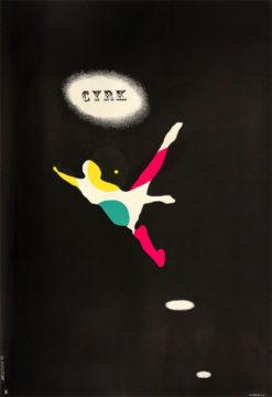 Oryginalny polski plakat cyrkowy przedstawiający akrobatę. Projekt: ROMAN CIEŚLEWICZ