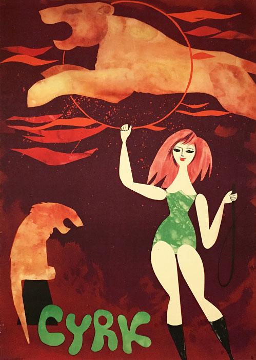 Oryginalny polski plakat cyrkowy przedstawiający treserkę z lwem skaczącym przez obręcz. Projekt plakatu: JERZY SROKOWSKI