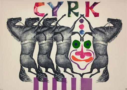 Oryginalny polski plakat cyrkowy przedstawiający cztery konie i twarz klauna. Projekt plakatu: ROMAN CIEŚLEWICZ