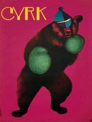 Oryginalny polski plakat cyrkowy przedstawiający misia w rękawicach bokserskich. Projekt plakatu: ANDRZEJ ONEGIN DĄBROWSKI