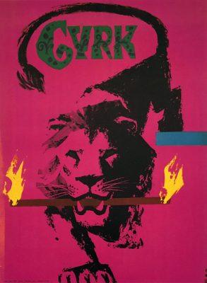 Oryginalny polski plakat cyrkowy przedstawiający lwa z płonącym drążkiem. Projekt plakatu: WITOLD CHMIELEWSKI
