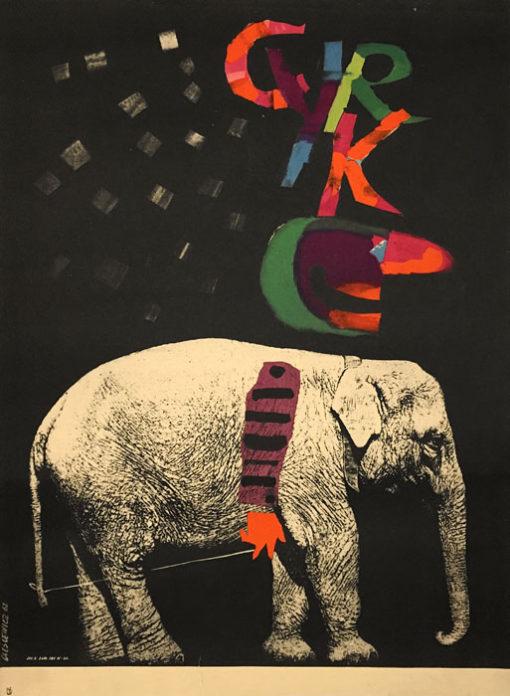 Oryginalny polski plakat cyrkowy przedstawiający słonia-klauna. Projekt plakatu: ROMAN CIEŚLEWICZ