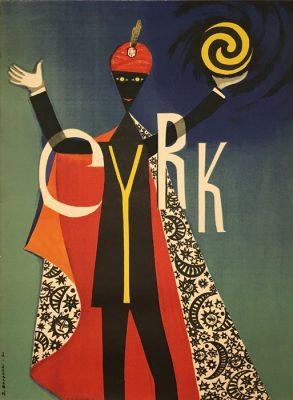 Oryginalny polski plakat cyrkowy przedstawiający czarnoskórego magika. Projekt plakatu: ZYGMUNT ŻUROWSKI
