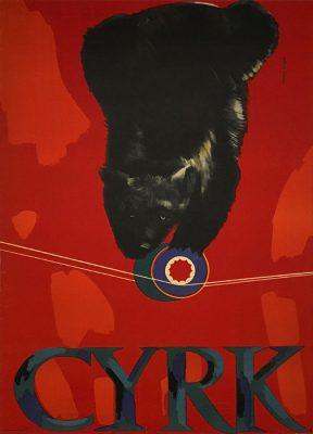 Oryginalny polski plakat cyrkowy przedstawiający słonia z kolorową trąbą. Projekt plakatu: MARIA SYSKA