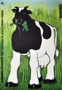 """Oryginalny polski plakat """"Racjonalne nawożenie łąk i pastwisk to więcej mleka i mięsa"""". Projekt plakatu: DANUTA ŻUKOWSKA ok. 1970 r."""