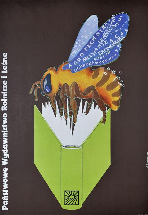 Oryginalny polski plakat reklamowy Państwowe Wydawnictwo Rolnicze i Leśne. Projekt plakatu: DANUTA ŻUKOWSKA 1974 r.