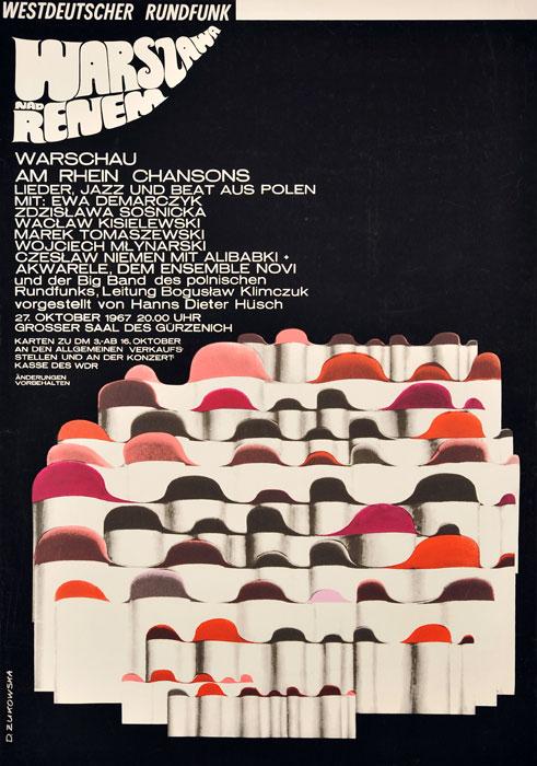 Oryginalny polski plakat muzyczny zapowiadający festiwal jazzowy Warszawa nad Renem. Projekt plakatu: DANUTA ŻUKOWSKA 1967 r.