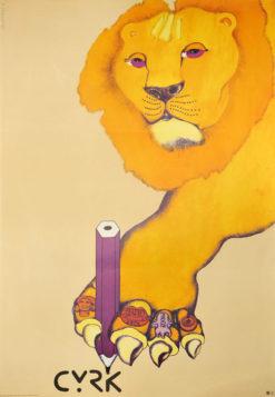 Oryginalny polski plakat cyrkowy przedstawiający lwa piszącego kredką. Projekt plakatu: DANUTA ŻUKOWSKA 1974 r.