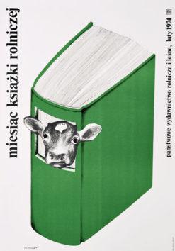 Oryginalny polski plakat społeczny Miesiąc książki rolniczej. Projekt plakatu: DANUTA ŻUKOWSKA 1974 r.