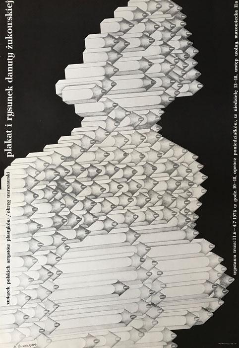 Oryginalny polski plakat wystawowy zapowiadający wystawę plakatów i rysunków Danuty Żukowskiej. Projekt plakatu: DANUTA ŻUKOWSKA 1976 r.