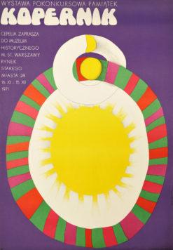 Oryginalny polski plakat wystawowy Wystawa pokonkursowa pamiątek KOPERNIK. Projekt plakatu: DANUTA ŻUKOWSKA 1971 r.