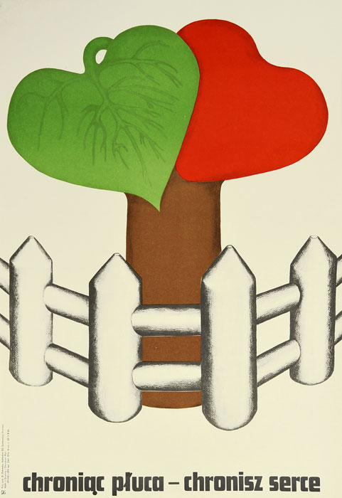"""Oryginalny polski plakat społeczny """"Chroniąc płuca - chronisz serce"""". Projekt plakatu: DANUTA ŻUKOWSKA 1960-70 r."""