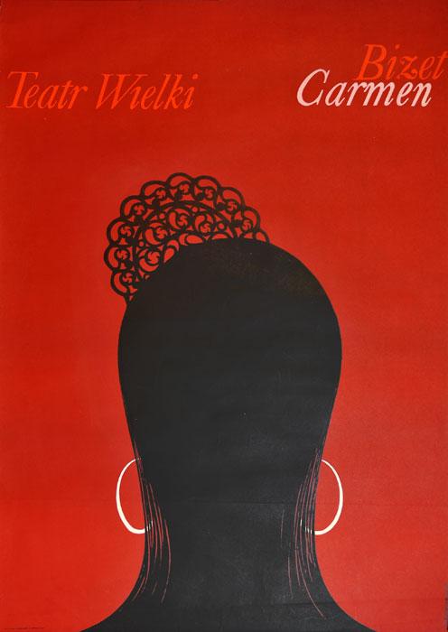 """Oryginalny polski plakat teatralny reklamujący operę: """"Carmen"""" Georges'a Bizet'a w Teatrze Wielkim w Warszawie. Projekt: LESZEK HOŁDANOWICZ"""