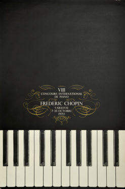Oryginalny polski plakat muzyczny reklamujący VIII Konkurs Chopinowski w Warszawie 7-25. 10. 1970. Projekt: BRONISŁAW ZELEK