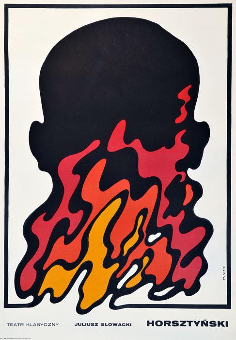 """Oryginalny polski plakat teatralny reklamujący przedstawienie: """"Horsztyński"""" Juliusza Słowackiego w Teatrze Klasycznym w Warszawie. Projekt: WALDEMAR ŚWIERZY"""