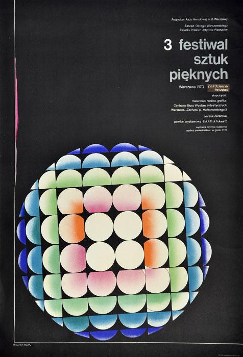 """Oryginalny polski plakat wystawowy reklamujący wydarzenie """"III Festiwal Sztuk Pięknych"""" w Warszawie. Projekt: FRANCISZEK WINIARSKI"""