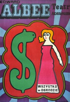 """Oryginalny polski plakat teatralny reklamujący sztukę: """"Wszystko w ogrodzie"""" Edwarda Albee w Teatrze Ateneum w Warszawie. Projekt: JAN MŁODOŻENIEC"""