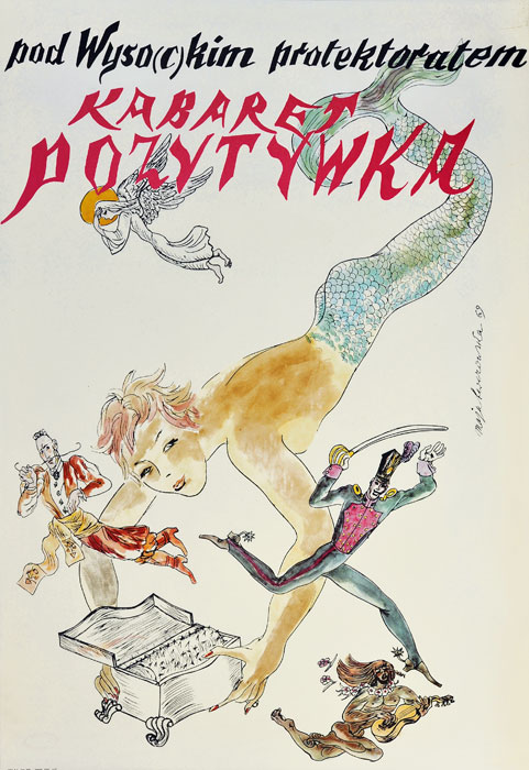 Oryginalny polski plakat teatralny reklamujący przedstawienie: Pod wyso(c)kim protektoratem Kabaretu pozytywka. Projekt: MAJA BEREZOWSKA 1969.