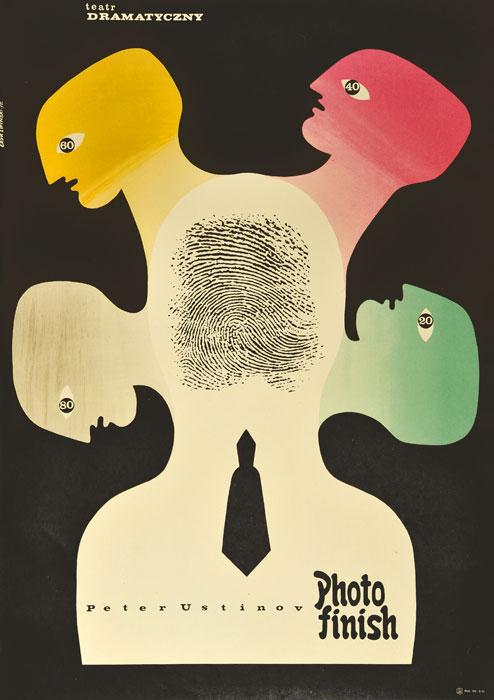 """Oryginalny polski plakat teatralny reklamujący sztukę: """"Photo finish"""" Petera Ustinova w Teatrze Dramatycznym w Warszawie. Projekt: ERYK LIPIŃSKI"""