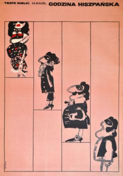 """Oryginalny polski plakat teatralny reklamujący operę: """"Godzina hiszpańska"""" Maurice Ravela w Teatrze Wielkim w Warszawie. Projekt: WALDEMAR ŚWIERZY"""