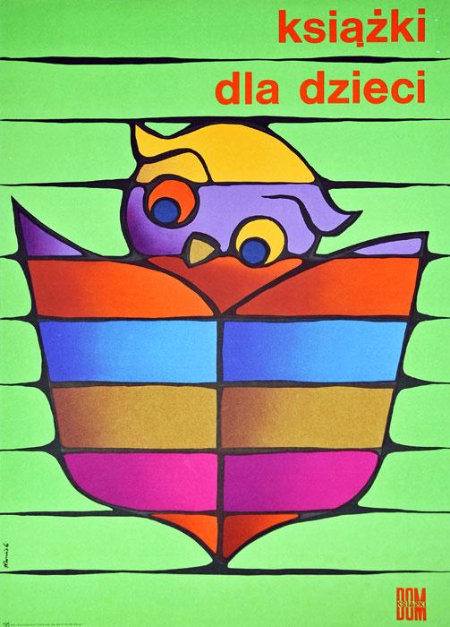"""Oryginalny polski plakat reklamowy wydawnictwa Dom Książki """"Książki dla dzieci"""". Projekt: TOMASZ RUMIŃSKI"""