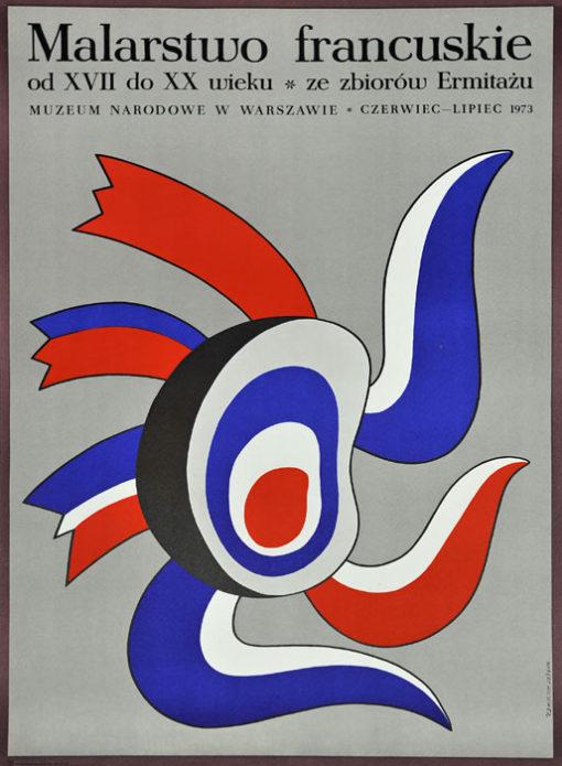 """Oryginalny polski plakat wystawowy zapowiadający ekspozycję """"Malarstwo francuskie od XVII do XX wieku"""