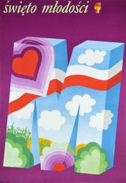 """Oryginalny polski plakat: """"Święto młodości"""" wydany przez Związek Socjalistycznej Młodzieży Polski (ZSMP). Projekt: KOTARBIŃSKI"""