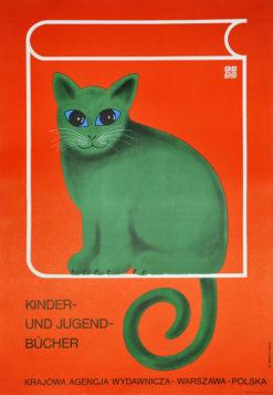 """Oryginalny polski plakat reklamowy wydawnictwa """"Krajowa Agencja Wydawnicza"""" (KAW) """"Kinder und Jugendbucher"""". Projekt: HUBERT HILSCHER"""