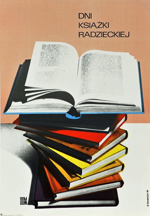 """Oryginalny polski plakat reklamowy wydawnictwa Dom Książki """"Dni książki radzieckiej"""". Projekt: GUSTAW MAJEWSKI"""