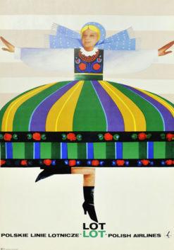"""Oryginalny polski plakat reklamowy """"PLL LOT - Polskie Linie Lotnicze LOT"""" przedstawiający tańczącą dziewczynę w stroju łowickim. Projekt WIKTOR GÓRKA"""