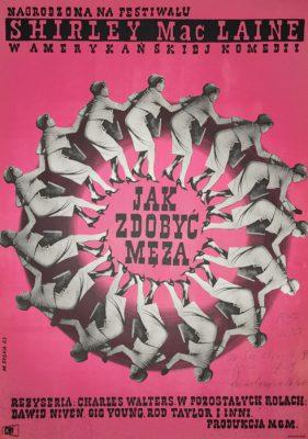 """Oryginalny polski plakat filmowy do amerykańskiego filmu """"Jak zdobyć męża"""". Reżyseria: Charles Walters . Projekt plakatu: MARIA SYSKA"""