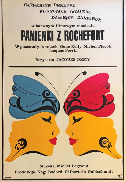 """Oryginalny polski plakat filmowy do francuskiego filmu """"Panienki z Rochefort"""". Reżyseria: Jacques Demy. Projekt plakatu: JANUSZ RAPNICKI"""