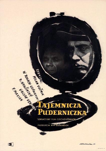 """Oryginalny polski plakat filmowy do czechosłowackiego filmu """"Tajemnicza puderniczka"""". Reżyseria: Milan Vosmik. Projekt plakatu: ANNA HUSKOWSKA"""