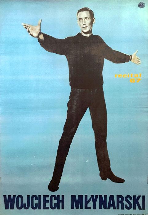 Oryginalny polski plakat reklamujący recital Wojciecha Młynarskiego w 1967 roku. Projekt plakatu: B. MODRZEJEWSKI