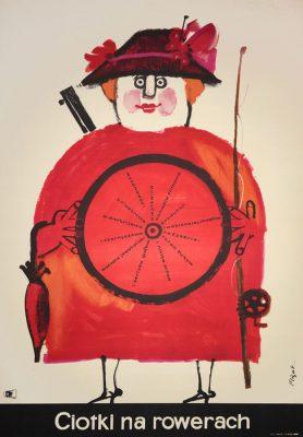 """Oryginalny polski plakat filmowy do radzieckiego filmu """"Ciotki na rowerach"""". Reżyseria: Rolan Bykow"""