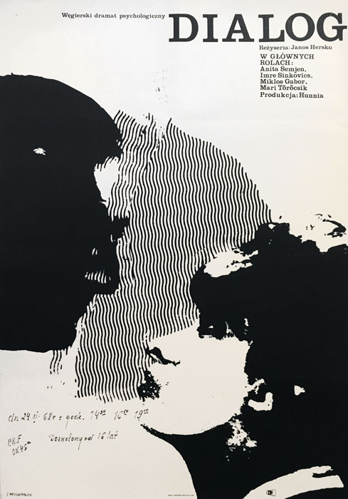 """Oryginalny polski plakat filmowy do węgierskiego filmu """"Dialog"""". Reżyseria Janos Hersko. Projekt plakatu: JACEK NEUGEBAUER"""