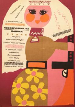 """Oryginalny polski plakat filmowy do polskiego filmu """"Rzeczpospolita babska"""". Reżyseria: Hieronim Przybył. Projekt plakatu: JERZY FLISAK"""