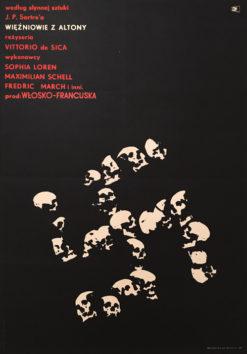 """Oryginalny polski plakat filmowy do włoskiego filmu """"Więźniowie z Altony"""". Reżyseria: Vittorio de Sica. Projekt plakatu: MAREK FREUDENREICH"""