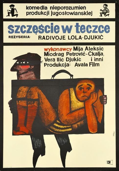 """Oryginalny polski plakat filmowy do jugosłowiańskiego filmu """"Szczęście w teczce"""". Reżyseria: Radivoje Lola-Djukic. Projekt plakatu: MACIEJ HIBNER"""