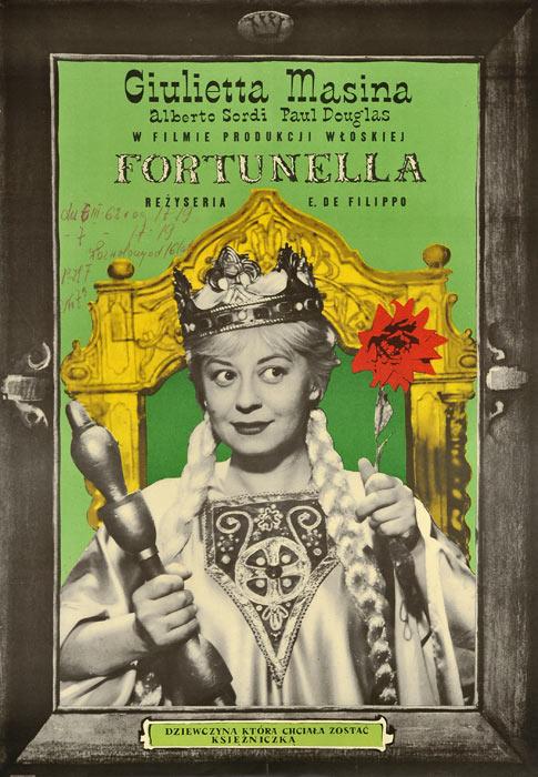 """Oryginalny polski plakat filmowy do włoskiego filmu """"Fortunella"""". Reżyseria: Eduardo de Filippo. Projekt plakatu: MACIEJ HIBNER"""