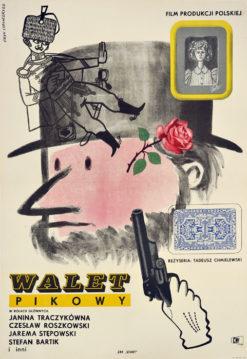 """Oryginalny polski plakat filmowy do polskiego filmu """"Walet pikowy"""". Reżyseria: Tadeusz Chmielewski. Projekt plakatu: ERYK LIPIŃSKI"""