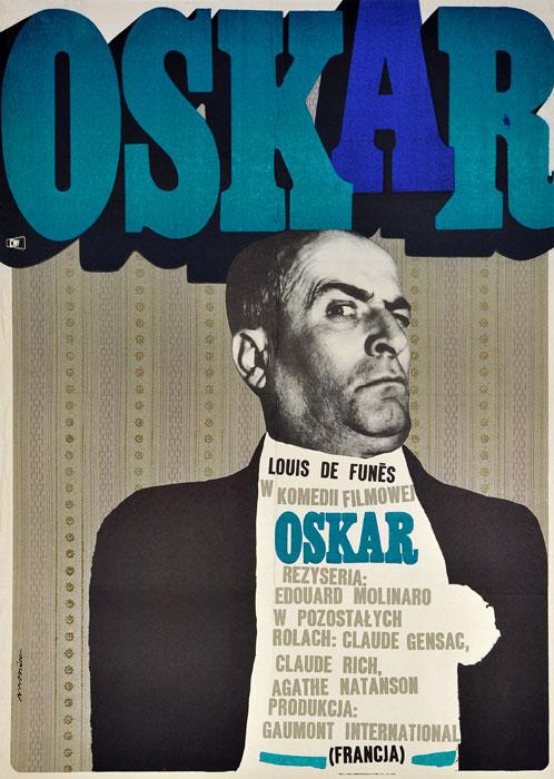 """Oryginalny polski plakat filmowy do francuskiego filmu """"Oskar"""". Reżyseria: Edouard Molinaro. Projekt plakatu: MAREK MOSIŃSKI"""