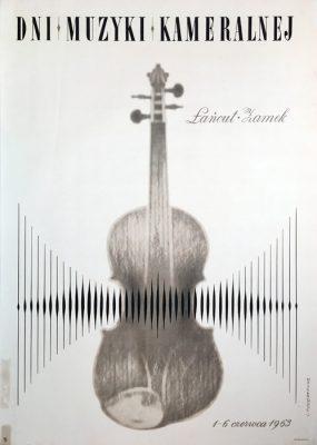 Oryginalny polski plakat muzyczny reklamujący Dni Muzyki Kameralnej w Łańcucie w 1963. Projekt plakatu: Leszek Hołdanowicz