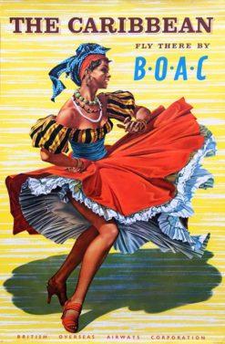 """Oryginalny brytyjski plakat reklamowy dawnych brytyjskich linii lotniczych: """"British Overseas Airways Corporation"""". Projekt plakatu: HAYES"""