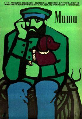 """Oryginalny polski plakat filmowy do radzieckiego filmu """"Mumu"""". Reżyseria: Anatoli Bobrowski"""